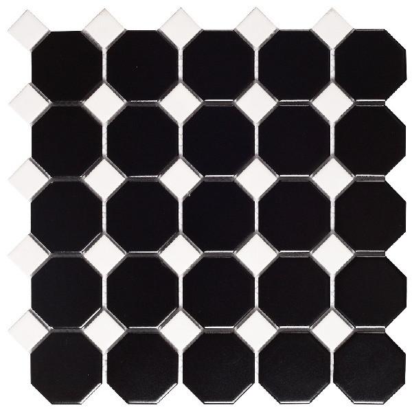 Mosaico enmallado OCTOGON BLACK MAT porcelánico esmaltado