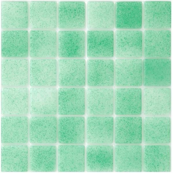 Mosaico vitreo TIRRENO (verde) serie NIEBLA 2,5x2,5 cm en mallas de 33,3x33.3 HISBALIT
