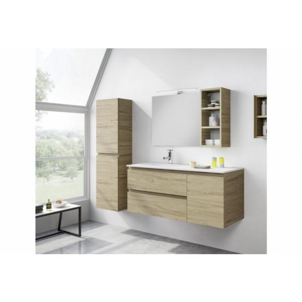 Mueble de lavabo suspendido melaminico 120cm Velice roble denver