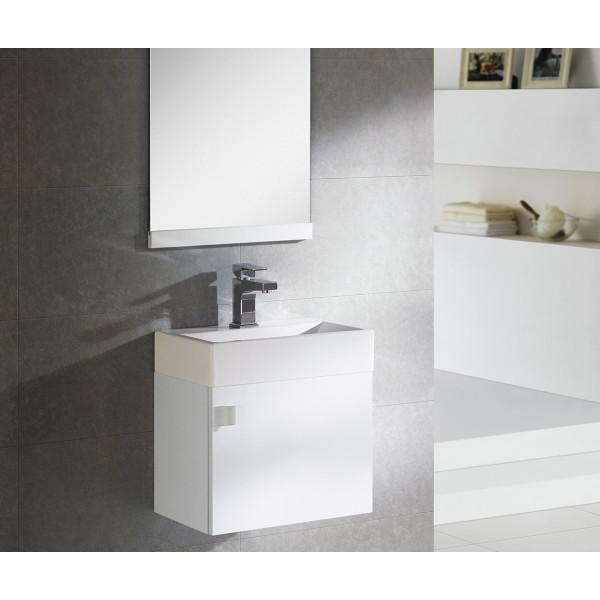 Conjunto mueble de baño PARIS blanco con lavabo y espejo B&K