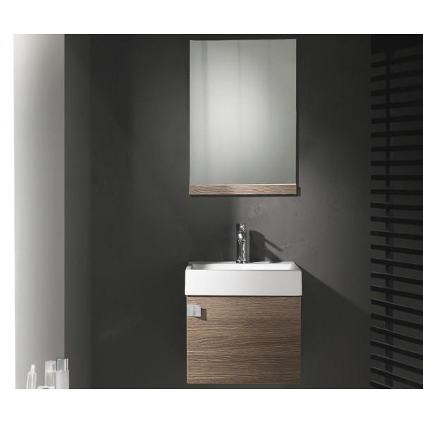 Conjunto mueble de baño PARIS roble con lavabo y espejo B&K