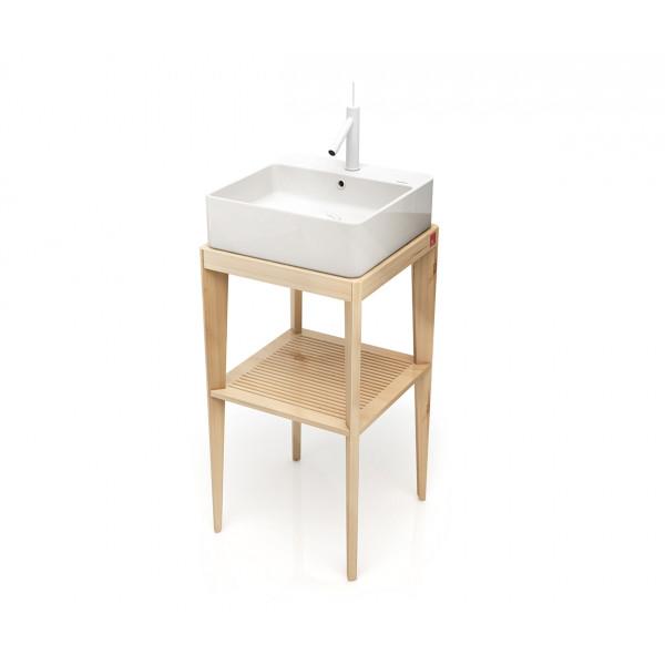 Mueble de baño cuadrado STAND UP en madera Natural + lavabo B&K