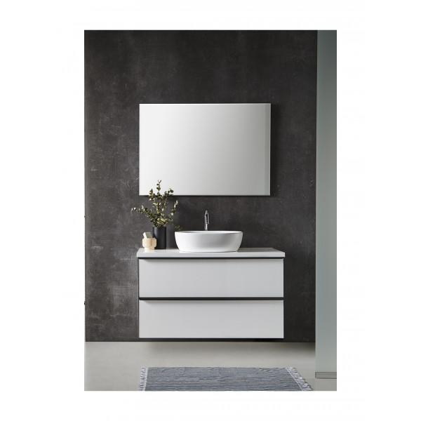 Mueble de baño METAL LINE 60cm blanco con espejo, encimera cerámica y lavabo