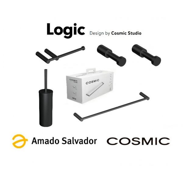 Pack accesorios de baño negro mate Logic Cosmic