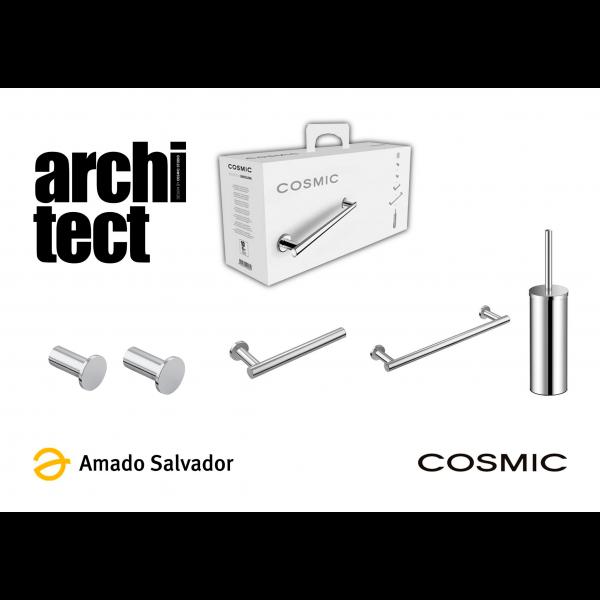 PACK Architect Cosmic atornillar: Compuesto por dos colgadores, toallero, portapapel y escobillero cromo