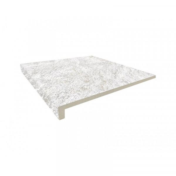 Peldaño recto ROCA Polar 33x33x3 cm gres extrusionado pasta blanca