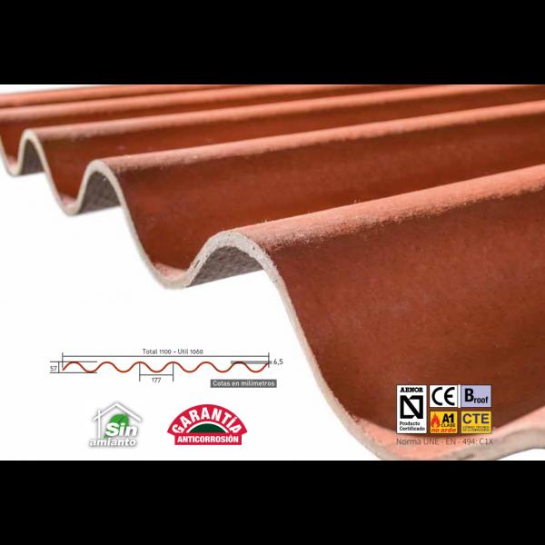 Placa Granonda de fibrocemento Roja rústica arcilla  250 X 110
