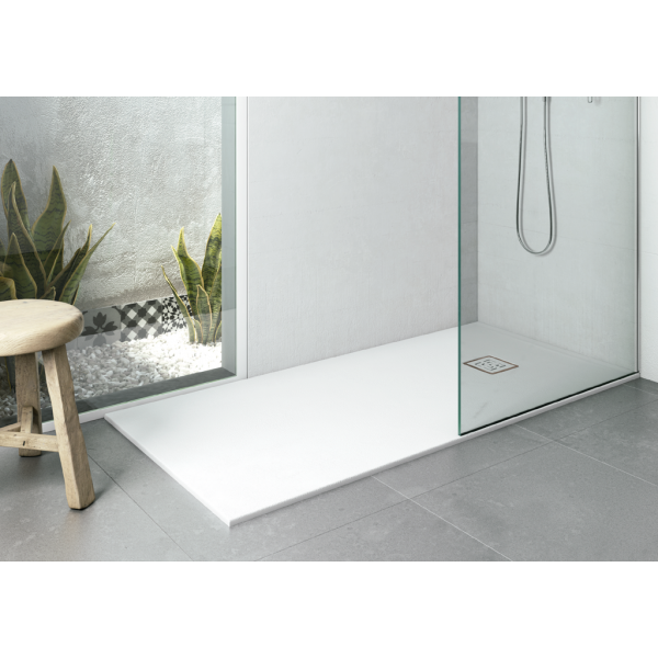 Plato de ducha EVOL Solidstone Blanco textura piedra antideslizante 80X100x3CM