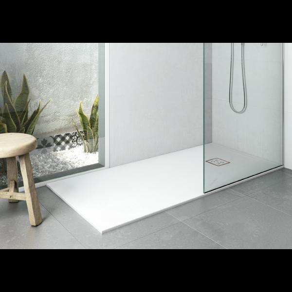 Plato de ducha EVOL Solidstone Blanco textura piedra antideslizante 80X160x3CM