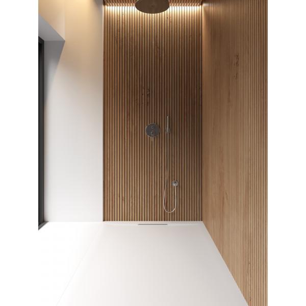 Plato de ducha antideslizante AMARIS Solidstone textura piedra Blanco 70x130CM Valvula By Marzzo