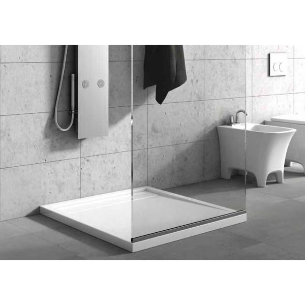 Plato ducha blanco acrílico extraplano desagüe oculto c/ valvula
