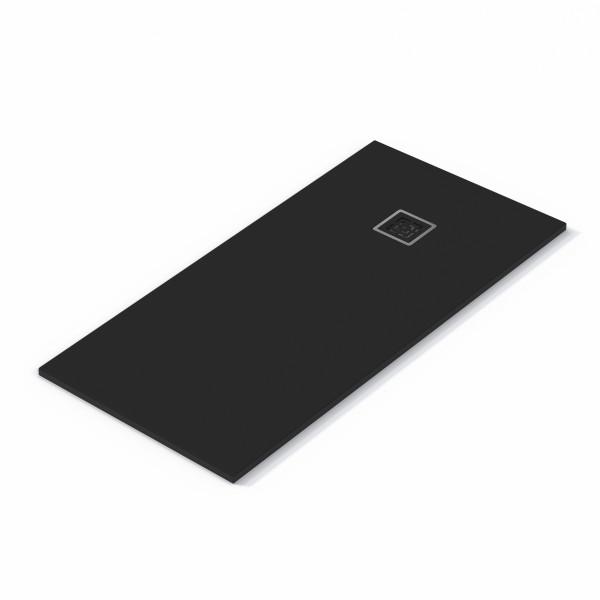 Plato de ducha EVOL Solidstone Negro textura piedra antideslizante 70X140x3CM