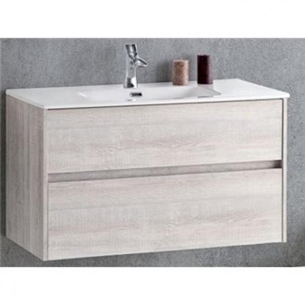 Mueble de baño suspendido madera vintage DECO LINE 60cm con encimera ceramica