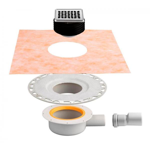SET KERDI-DRAIN diseño 2 incluye desagüe, rejilla con sifón y lámina kerdi