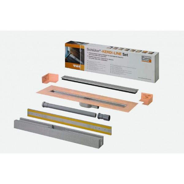 SET KERDI-LINE-A desagüe lineal 80 cm salida horizontal rejilla y marco acero inox KLA19EB80S1