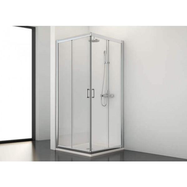 Mampara de ducha angular corredera SG-320 medida 117-120x67-70 cm antical perfil plata brillo PROFILTEK