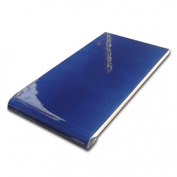 Vierteaguas Vidriado liso Azul brillo 14x28cm gotero al 14