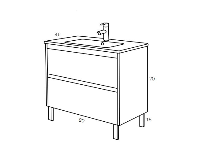 Mueble de lavabo a suelo acabado madera 80cm